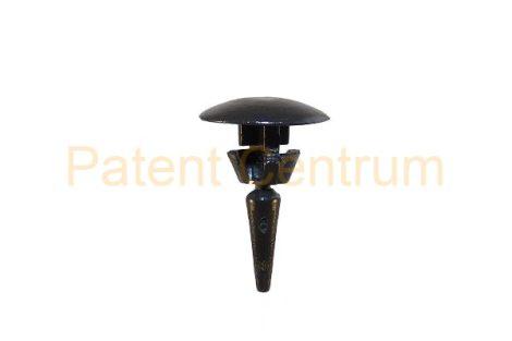 06-012  RENAULT gumiszegély rögzítő patent Furat: 5,5 mm Hossz: 16,7 mm Fej átmérő: 12 mm Szín: fekete. KIFUTÓ TERMÉK.