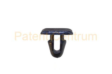 06-015   TOYOTA CAMRY, CELICA, COROLLA, LAND CRUISER, STARLET gumiszegély rögzítő patent.  Furat: 6,5 mm Hossz: 10,5 mm Fej átmérő: 9*13 mm Szín: fekete.  Gyári cikkszám: 9046708030