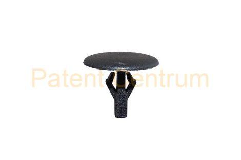 06-042  MAZDA gumiszegély rögzítő patent Furat: 5 mm Hossz: 10,5 mm Fej átmérő: 14 mm Szín: fekete.   Gyári cikkszám: UB3956741