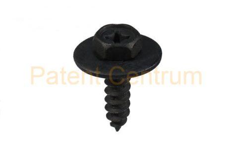 71-015   TOYOTA hatlapfejű alátétes lemezcsavar. Méret: 6 mm Hossz: 21,5 mm Fej: 10kny Alátét: 20 mm Szín: fekete.